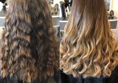 Balayage before and after done by Rachael